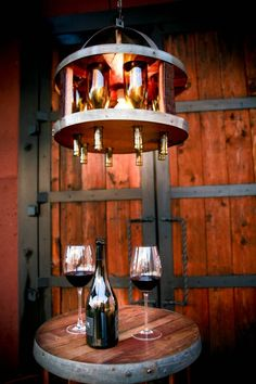 Wine bottle chandelier... a must for the wine room : )
