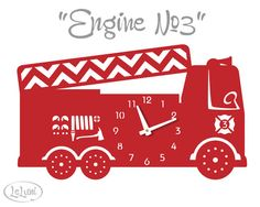 The Engine No.3 in Red a designer wall mounted clock by LeLuni, $54.00