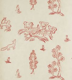 Wychwood Wallpaper by Andrew Martin in Huntsman Red | Jane Clayton Blooming Trees, Red Wallpaper, Tapestry, Free Samples, 16th Century, Manhattan, Inspiration, Creatures, Advice