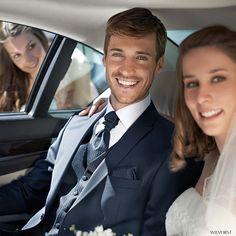 smarter Dreiteiler für die Hochzeit mit gemusterter Weste, Krawatte und Einstecktuch #Wilvorst