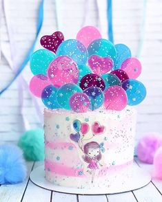 39 Trendy Ideas For Birthday Cake Easy Decorating Ideas Bolo Laura, Bolo Artificial, Cake Decorating Videos, Decorating Ideas, Baby Birthday Cakes, Balloon Cake, Painted Cakes, Drip Cakes, Cute Cakes