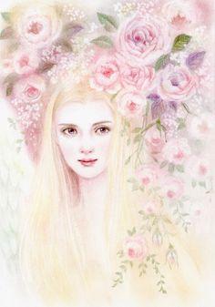 Sketchbook Drawings, Angels Among Us, Rose Art, Pastel Art, All Art, Female Art, Ethereal, Beautiful Images, Angel Paintings