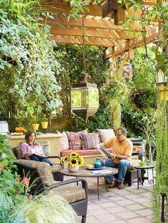 Exterior Gartengestaltung Pergola Ideen Steinpflaster Kamin ... Gartengestaltung Ideen Pergola Grillparty