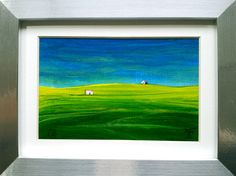 Green & Blue, Original Painting Framed & Ready to Hang on Your Wall, Gift Idea,  £45.00