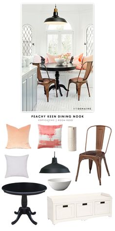 Nina Dobrev's eat in kitchen dining nook recreated for less by Copy Cat Chic.