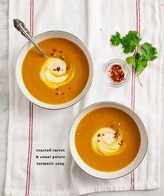 Roasted carrot & sweet potato turmeric soup with spiced yogurt