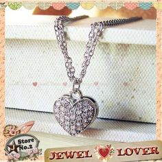 Wedding Bridal Classy Heart Love in Rhinestone Silver Double Chain Necklace