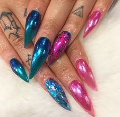 Long sharp hologram stiletto nails