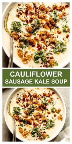 Creamy Cauliflower Sausage Kale Soup - Little Broken - Meat Soup Recipes - Creamy cauliflower sausage kale soup. It's just like the zuppa soup but low carb and SO creamy. Zuppa Soup, Sausage And Kale Soup, Chicken Kale Soup, Veggie Sausage, Chicken Enchilada Soup, Chicken Chili, Creamy Cauliflower Soup, Cauliflower Soup Recipes, Parmesan Roasted Cauliflower