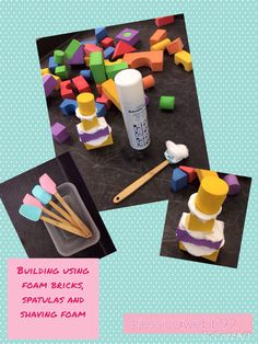 Building using foam blocks, spatulas and shaving foam. EYFS