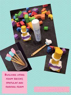 Building using foam blocks, spatulas and shaving foam. EYFS