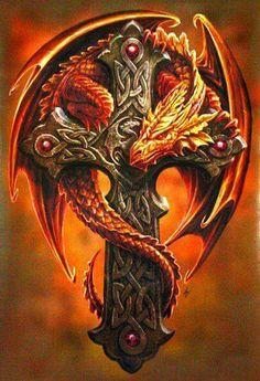 Dragon & Golden Crucifix