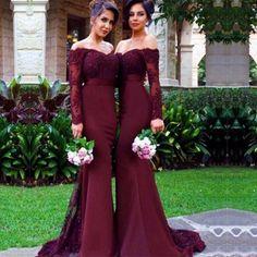 Atractivo de La Sirena Vestidos de Dama De Borgoña Con Cuentas de Encaje Satinado de Manga Larga Imperio Mejores Mujeres Del Vestido de dama de Honor Vestidos de dama de Honor B37