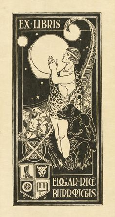 Bookplate of American writer Edgar Rice Burroughs (1875-1950) showing Tarzan holding the planet Mars, surrounded by other characters from Burroughs' stories and symbols relating to the author's personal interests and career. (HT Wikipedia)
