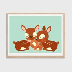 Deer Family Poster : Modern Animal Illustration Retro Art Wall Decor Print A3 11 x 16 on Etsy, $25.97