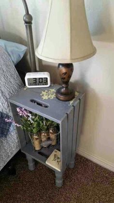 Ideas para Mesitas de noche recicladas - Gray Wooden Crate Nightstand With legs Hand Wooden Crates Nightstand, Crate Nightstand, Decor, Diy Decor, Repurposed Furniture, Diy Home Decor, Home Diy, Diy Furniture, Yellow Bedside Tables