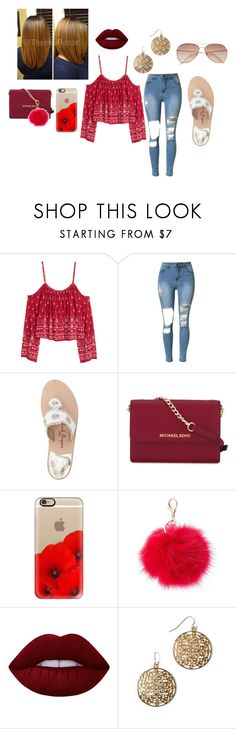 """Untitled #436"" by liltay-247 ❤ liked on Polyvore featuring H&M, Jack Rogers, MICHAEL Michael Kors, Casetify, Charlotte Russe, Lime Crime and American Eagle Outfitters"