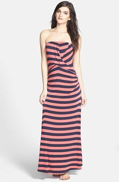 Ella Moss 'Isla' Stripe Strapless Jersey Maxi Dress available at #Nordstrom