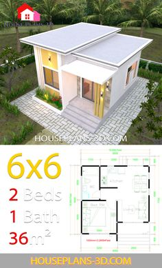 Free One Bedroom House Plans Unique House Plans with E Bedrooms Flat Roof House Plans One Bedroom House Plans, One Bedroom Flat, Cottage House Plans, Modern Small House Design, Simple House Design, Tiny House Design, Unique House Plans, Small House Floor Plans, Autocad Architecture