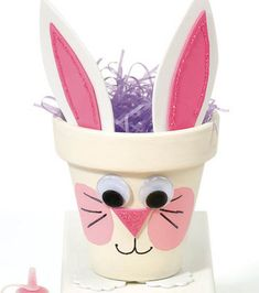 Make a Bunny flower pot and use as an Easter Basket