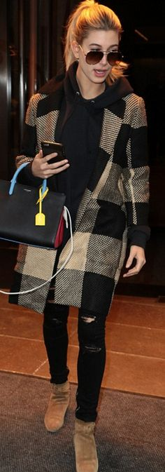 Who made Hailey Baldwin's tan plaid coat, ripped black jeans, beige suede ankle boots, and black handbag?