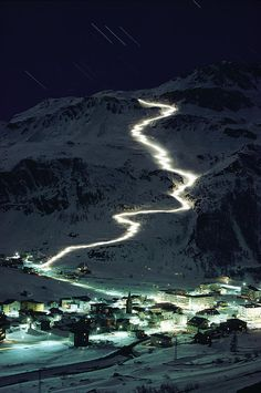 Night skiing: Val d'Isere, France