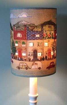'A Place Like Home' - Happy houses lampshade with illuminating window detail. inspiration lamp shades Lampshade - 'A Place Like Home' - Happy houses lampshade with illuminating window detail. Diy And Crafts, Arts And Crafts, Free Motion Embroidery, Happy House, Light Shades, Soft Furnishings, Projects To Try, Window Detail, Crafty