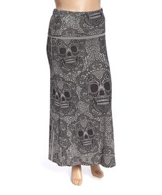 Love this Poliana Plus Gray & Black Skull Maxi Skirt - Plus by Poliana Plus on #zulily! #zulilyfinds