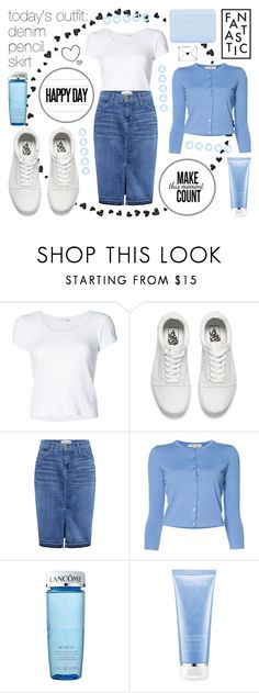 """""""today's outfit: denim pencil skirt - 20170602"""" by catharine-polyvore ❤ liked on Polyvore featuring rag & bone, Vans, Current/Elliott, Carolina Herrera, Lancôme and Pré de Provence"""