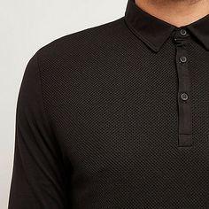 Black textured long sleeve polo shirt - polo shirts - men