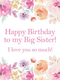 Whatsapp a sweet birthday wish to you sister with this ecard pink flower happy birthday card for sister just take a look at those soft bookmarktalkfo Choice Image