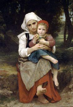 Frère et soeur Bretons-William Adolphe Bouguereau (1825 – 1905, French)