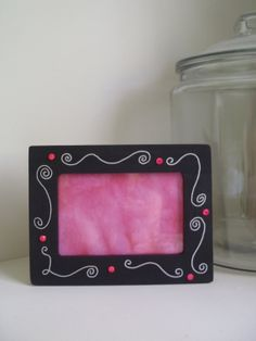 Girly Wooden Picture Frame by LisaMRadDesigns on Etsy, $10.00