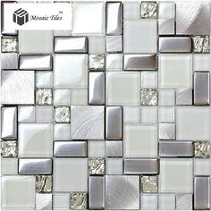 TST Glass Metal Tile Frosted Glass Silver Steel Glitter Bathroom Deco Art Mosaics
