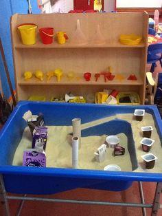 Sand area Sensory Table, Sensory Bins, Sensory Activities, Sensory Play, Sand And Water Table, Sand Table, Sand Tray, Dramatic Play Area, Nursery Activities