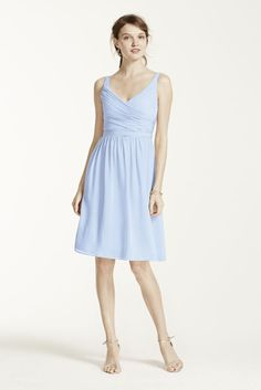 Extra Length Short Chiffon Bridesmaid Dress with Ruching - Ice Blue, 0
