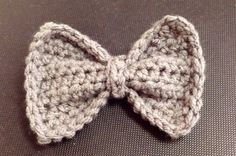 Handmade Crocheted bow tie hair clip bowtie gray yarn half-double crochet by KeepaCap on Etsy