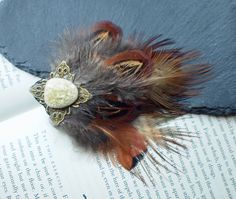 Pheasant Feather Gold Cracked Glass Hair Clip Fascinator. For Travel, Adventure, Steampunk and Hipster Lovers. Perfect Gift for Her. by FindingUlysses on Etsy