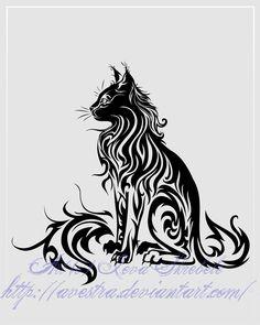 Awesome Tribal Cat by Avestra http://avestra.deviantart.com/art/Sitting-Cat-Tribal-Tattoo-II-150769354