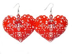 Valentine's Red Filigree Heart Earrings with by GirlieGals on Etsy, $10.00