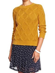 Womens 3/4-Sleeve Cable Sweaters: *Assuming you don't use a lot of the gold/mustard color in the other outfits and/or prefer this to the striped sweater, this would be my second choice (sans the belt).