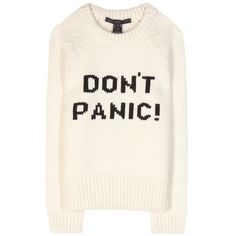 Marc by Marc Jacobs Don't Panic Wool Sweater (240 CAD) ❤ liked on Polyvore featuring tops, sweaters, shirts, jumpers, neutrals, white long sleeve shirt, white long sleeve sweater, marc by marc jacobs sweater, cream sweater and long sleeve shirts