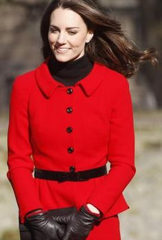 Kate Middleton in a suit by Luisa Spagnoli. Photo by Keystone Press
