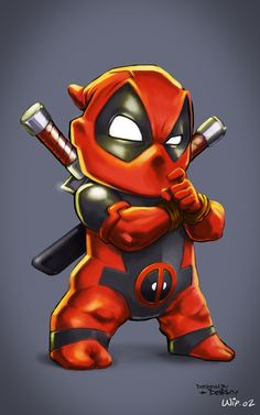 "Digital painting / Character design : Wip-02 Deadpool Kid ""chibby"" : temps de…"