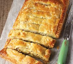 Potato & Leek slab pie made using Careme Pastry traditional french style All Butter Puff Pastry.