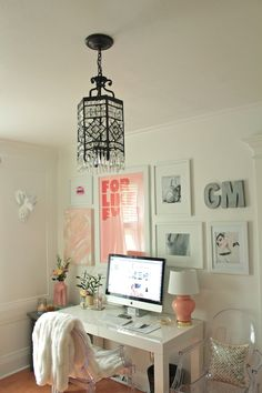 girls home office feminine home office space