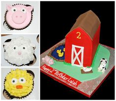 2nd Birthday Barn Cake and Farm Animal Cupcakes by Simply Sweets, via Flickr