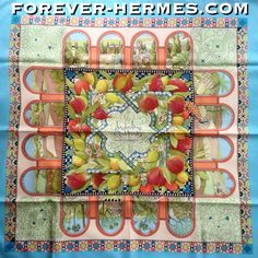 Fresh & full of color, especially stunning with this turquoise border is Hermes Paris's silk Scarf titled Jardins d'Andalousie by French Artist Aline Honore now in store http://forever-hermes.com #ForeverHermes Spain's Andalusia is the birthplace of #Picasso #Velazquez #Murillo and #flamenco #bullfighting originated here. Moorish architecture like on this scarf, round arches, gorgeous landscapes, delicious fruits #pomegranate #lemon to make you dream of #travel #HermesParis #HermesCarre