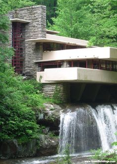 Fallingwater design. Using wood though, like the clinic. Used for a center- water would provide energy. Incorporate solar panels. Building not completely ON the falls tho. Only part of building?