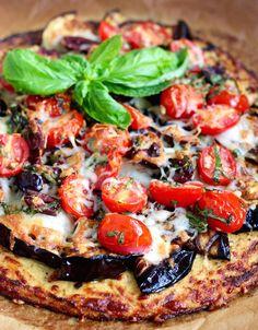 Grilled Eggplant Pizza with Low-Carb Cauliflower Crust #Cauliflower #Pizza #FallFest